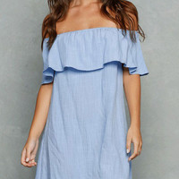 Blue Linen Off Shoulder Mini Dress Open Back