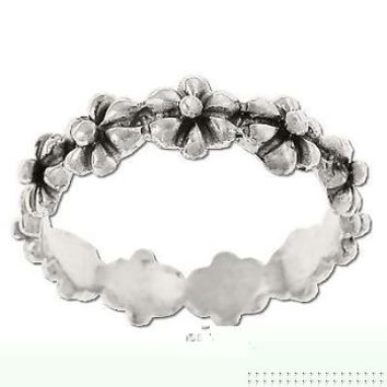 Sterling Silver Daisy Flower Fairy Crown Wreath Ring