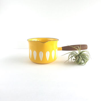Cathrineholm Yellow Lotus Small Saucepan, Mid Century Cathrineholm Yellow and White Lotus Butter Warmer