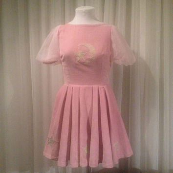Velvet pink moon and star dress