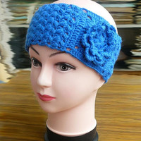 Crochet earwarmer Knitted hairbands Blue earwarmer Knit headwrap Fashion Gift ideas for women hairband handmade