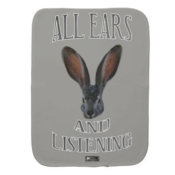 All ears Baby Design by Kat Worth Baby Burp Cloth