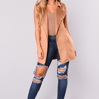 Lock It Down Suede Vest - Camel