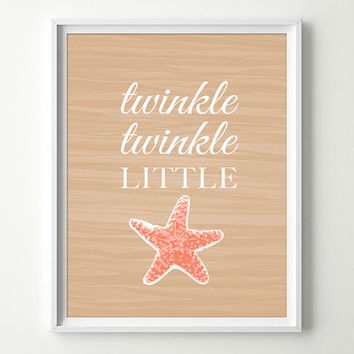 Twinkle Twinkle Little Star Decor - Tropical Nursery Decor - Starfish Decor - Under the Sea Nursery - Baby Girl Nursery - Starfish Art