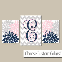 Pink Navy Nursery, Monogram Wall Art, Baby Girl Nursery Wall Art, Canvas or Prints Girl Bedroom Pictures, Nursery Decor Artwork Set of 3