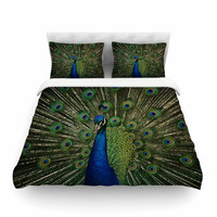 "Angie Turner ""Proud Peacock"" Blue Animals Featherweight Duvet Cover"