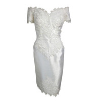 Vintage One Last Time White Raw Silk Lace Applique Pearls Off Shoulder Wedding Dress