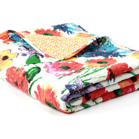 Larisa Floral Print Cotton Throw