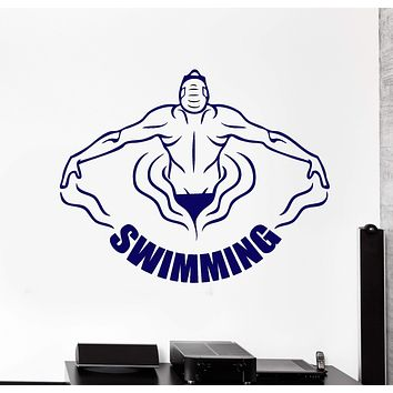 Vinyl Wall Decal Swimming Pool Swimmer Water Sports Word Logo Stickers Unique Gift (2068ig)