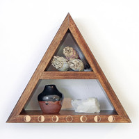 Triangle Shelf with Gold Moon Phase