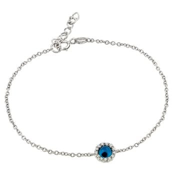 .925 Sterling Silver Rhodium Plated Evil Eye Cubic Zirconia Bracelet