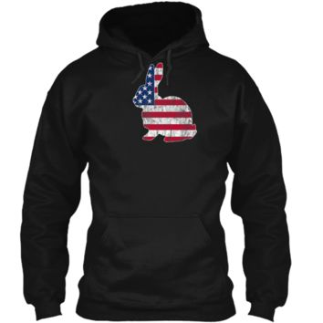 Bunny Rabbit American Flag Easter T-Shirt Pullover Hoodie 8 oz