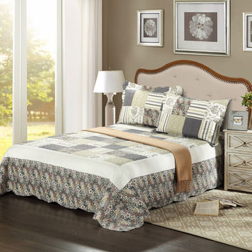 Tache 3 PC Plaid Morning Flower Galore Reversible Bedspread Set