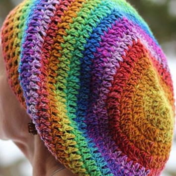 RASTA Slouchy Style CROCHET HAT Beret Style by 4PennyGirl
