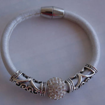 White and Silver Faux Leather Bracelet Adorned with Micro Pave & Decorative Beads. Eco-Friendly.