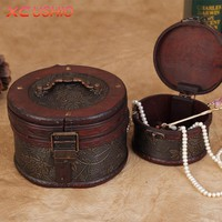 1pc  Wood Cylinder Jewelry Box Retro Storage Case for Necklace Rings Earrings Jewelry Container