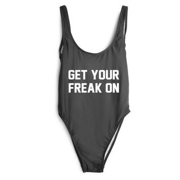 GET YOUR FREAK ON Text Print - Women's Sexy Sporty One-Piece Swimsuit