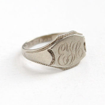 Vintage Art Deco 10k White Gold Monogrammed Ring - Size 5 1/2 Dated 1933 ELC Initial Fine Signet Jewelry Circa 1930s
