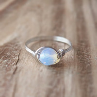 Faux Moonstone Ring - prom rings   0% factory - 100% handmade!
