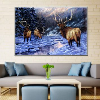 Canvas Big Large Size Sunset Fawn Stag Posters and Prints Deer Painting Winter Water Sunset Mountain Scandinavian Decor Wall Art