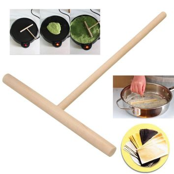 Top Quality 2Pcs/set T Shape Wooden Rake DIY Round Batter Pancake Crepe Spreader Rolling Pin Kitchen Tool Kit 15cm