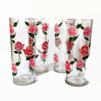 Vintage Shabby Chic Vases-Handpainted Pink Roses-Tall Narrow- Tall Drinking Glasses-Matching Vases-Wedding-Wedding Shower-Vintage Kitchen