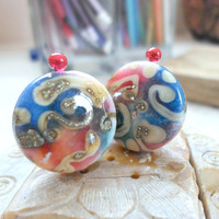 Lampwork Beads, Handmade Glass Beads, Handmade Supplies, Silvered Pair of Beads for Lampwork Jewelry
