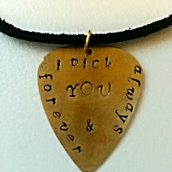 I PICK YOU Guitar Pick - Personalized Guitar Pick - Leather Necklace - Gifts for Music Fans