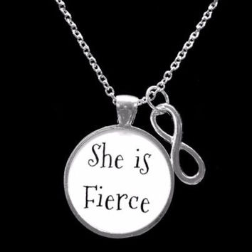 Infinity She Is Fierce Inspirational Friend Sister Daughter Gift Necklace