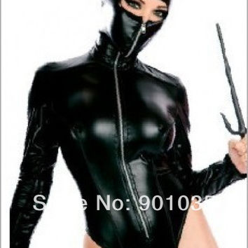 FREE SHIPPING Sexy Blk Goth Punk Leather-like Wet Look Zipper Catsuit Romper Clubwear pvc costume leather lingerie