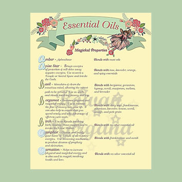 MAGICKAL ESSENTIAL OILS , Digital Download,  Book of Shadows Page, Grimoire, Scrapbook, Spells