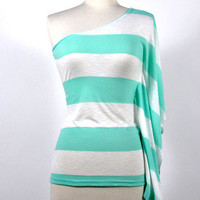 Over the Horizon One Shoulder Shirt - Seafoam Green -  $39.00 | Daily Chic Tops | International Shipping