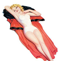 Pin Up Art Blonde Laying On A Cape Poster