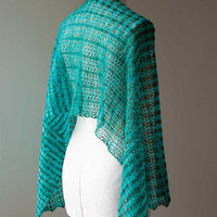 Knitted silk and mohair summer lace shawl, stole wrap in colour turquoise and brown hand dyed yarn OOAK