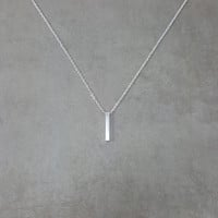 Bar Vertical Silver Necklace