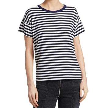 Rag & Bone Kat Split Back Striped Tee Shirt