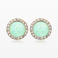 A Pair of Golden Round Crown Opal Jeweled Ear Stud Earrings