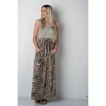 Black and White Striped Maxi with Leopard (S-XL)