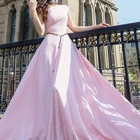 Pink Draped Round Neck Short Sleeve Homecoming Elegant Maxi Dress