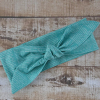 Ready To Ship Newsprint Inspirational  Quote Teal Designer Fabric Top Knot Headband Head Tie Headwrap