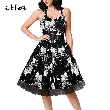 4XL 50s 60s Skull Swing Lace Patchwork Polka Dot Formal Vintage Rockabilly Dress