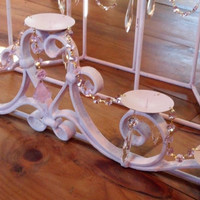 Shabby Chic Fireplace Chandelier Candle Holder Pink Farmhouse Cottage Style Wrought Iron Chandelier Crystals Rose