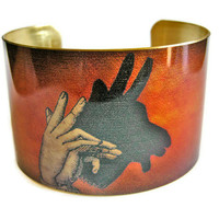 Billy Goat Shadow Puppet cuff bracelet brass by UniqueArtPendants