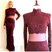 80s vintage lace maroon evening gown floor length long sleeve dress mesh mid section high neck shoulder pads retro glam punk prom formal