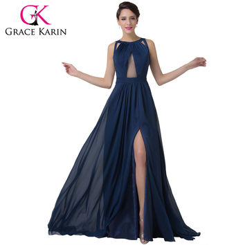 Navy Blue Evening Dress Women Fashion Backless Split Special Long Evening Gown Elegant Grace Karin Special Occasion Dress 2016