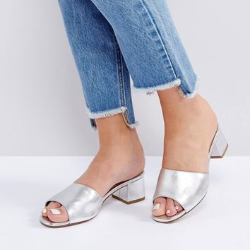 New Look Wide Fit Metallic Heeled Mule Sandals at asos.com