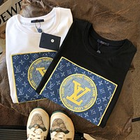 LV Top Louis Vuitton Tee Shirt 2020 new embroidery short sleeve chest embroidery Cowboy Print