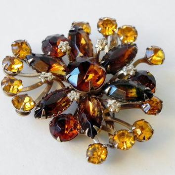 Vintage Topaz and Amber Rhinestone Brooch with Fleur de lis