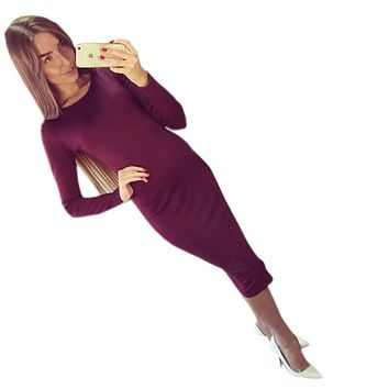Slim Bodycon Bandage Dress Long Sleeve Knee Length Midi Dresses Autumn High Quality Women Dresses Bandage Vestidos Female Q0001