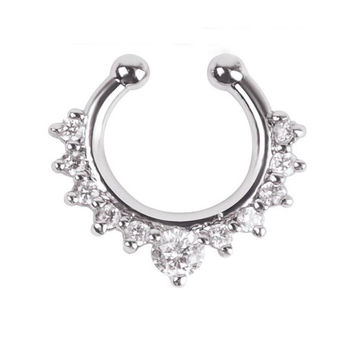 Crown Jeweled Faux Septum Nose Ring - Save 52%!